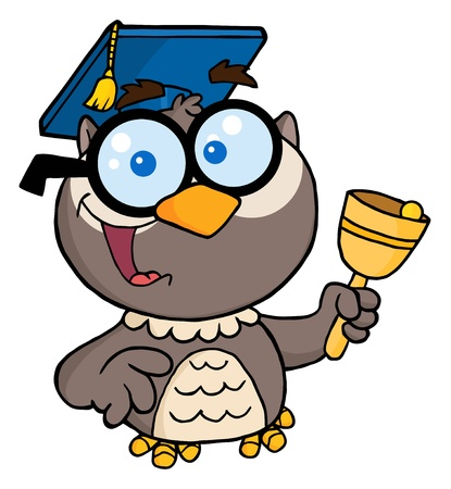 Owl Teacher With Graduate Cap And Bell  Illustration