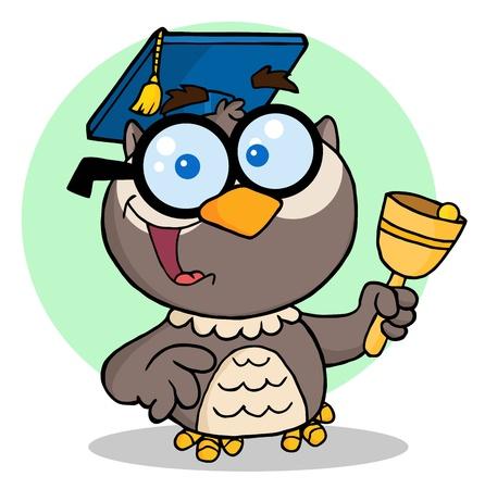 大学院のキャップと鐘がフクロウ先生の漫画のキャラクター  イラスト・ベクター素材