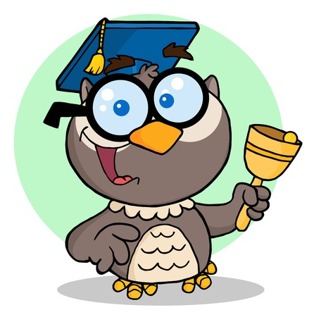 Owl Teacher Cartoon Character With Graduate Cap And Bell  Ilustracja