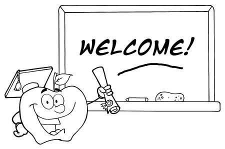 Outlined Graduate Apple Holding A Diploma In Front Of School Chalk Board  Vector
