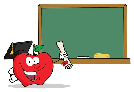 Graduate Apple Holding A Diploma In Front Of School Chalk Board  Vector
