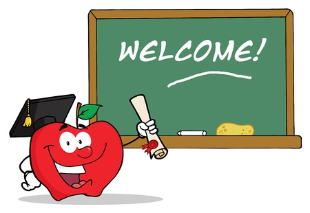 Graduate Apple Character Holding A Diploma In Front Of School Chalk Board  Vector
