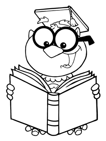 Outlined Owl Teacher Cartoon Character Reading A Book  Illustration