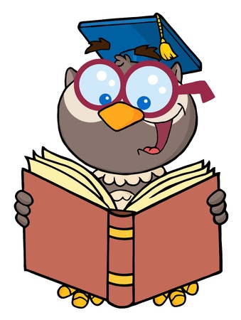 scholars: Owl Teacher Cartoon Character Reading A Book  Illustration