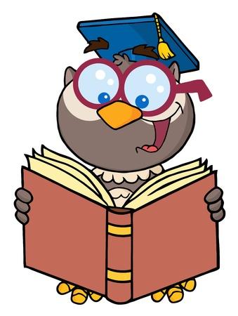 scholar: Owl Teacher Cartoon Character Reading A Book  Illustration