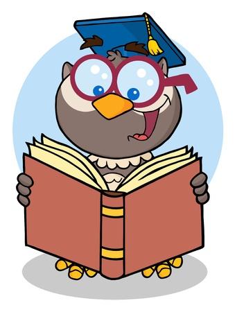 owl illustration: Owl Teacher Cartoon Character With Graduate Cap Reading A Book  Illustration