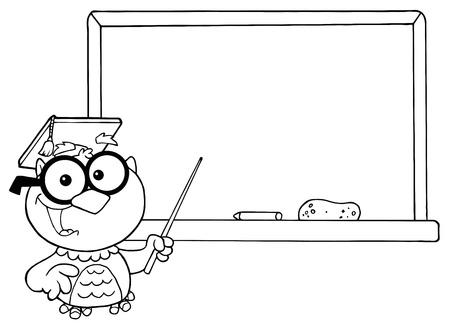 Outlined Professor Owl And Chalk Board  Illustration