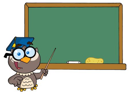 blackboard cartoon: Professor Owl And Chalk Board
