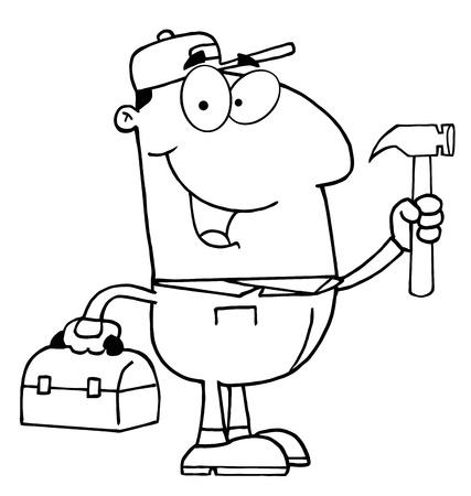 handy man: Delineata operaio edile con martello
