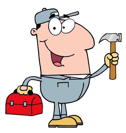 Construction Worker With Hammer  Stock Illustratie