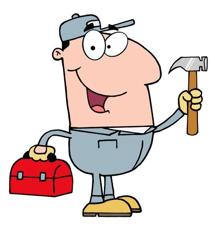 Construction Worker With Hammer  Illustration
