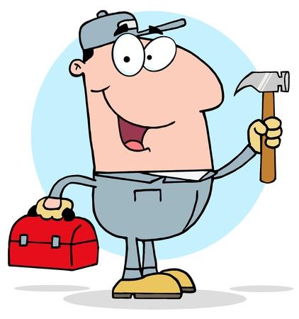 Bouwvakker met hamer en Tool Box Stock Illustratie