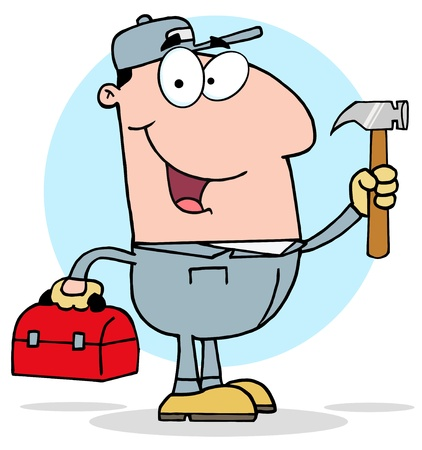 Construction Worker With Hammer And Tool Box Vector