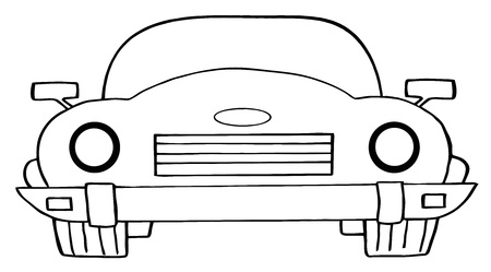 convertible car: Outlined Convertible Car Illustration