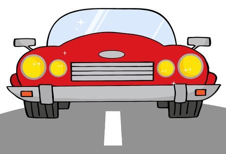 convertible car: Auto Convertible rojo en camino a  Vectores
