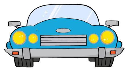 convertible car: Auto Convertible azul  Vectores