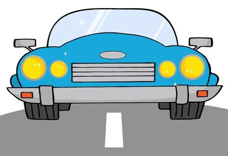 convertible car: Auto Convertible azul en camino a  Vectores