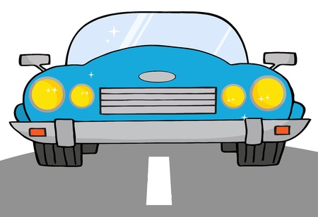 Blue Convertible Car On A Road  Stock Vector - 9681470