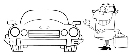 coloring sheets: Outlined Businessman And Convertible Car Illustration
