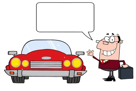 Talking Businessman And Convertible Car  Ilustração