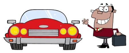 blacks: Black Commuter Businessman And Convertible Car