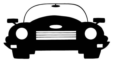 흑인과 백인 컨버터블 자동차 일러스트