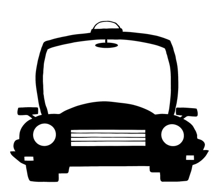 silueta coche: Coche de polic�a Cartoon silueta