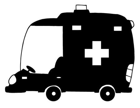 silueta coche: Coche de silueta de dibujos animados de ambulancia