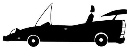 Convertible Cartoon Silhouette Car  Illustration