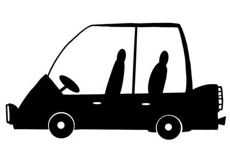 mini van: Mini Van Car Cartoon Silhouette