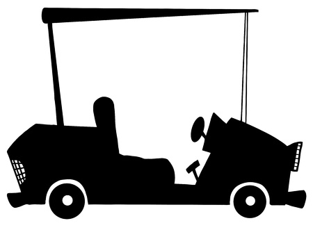 Cartoon Golf Car Silhouette  Vector