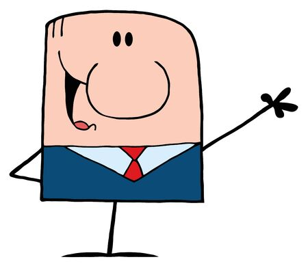 Cartoon Doodle Businessman Waving A Greeting  Stock Vector - 9681445
