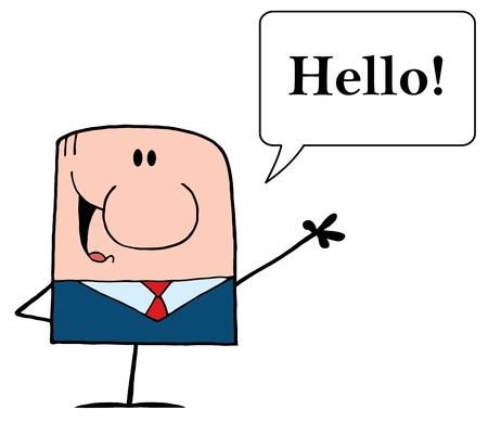 吹き出しとテキストこんにちはと手を振って漫画落書きビジネスマン !  イラスト・ベクター素材