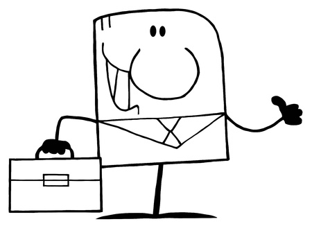 business degree: Outlined Cartoon Doodle Businessman Waving  Illustration