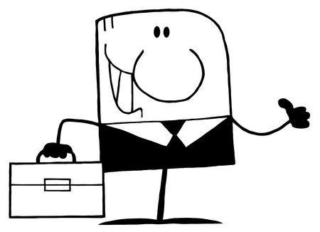 Cartoon Doodle Businessman Waving In Black Suit  Vector