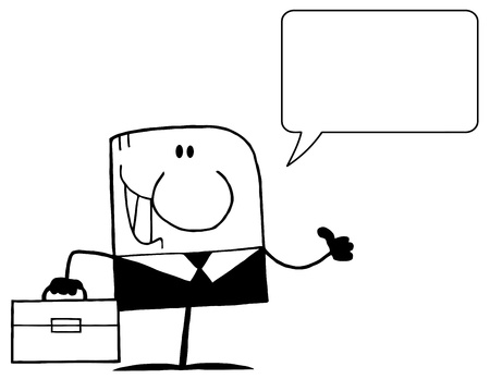 Outlined Businessman Holding A Thumb Up And Speech Bubble