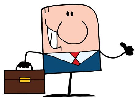 Cartoon Doodle Businessman Holding A Thumb Up