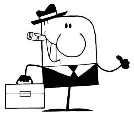 Outlined Cartoon Doodle Businessman Holding A Thumb Up  Vector