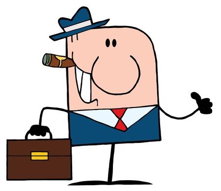 hombre caricatura: Cartoon Doodle empresario sosteniendo un pulgar