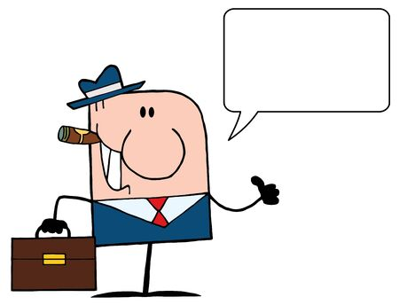 Cartoon Doodle Businessman Holding A Thumb Up And Speech Bubble  Vector