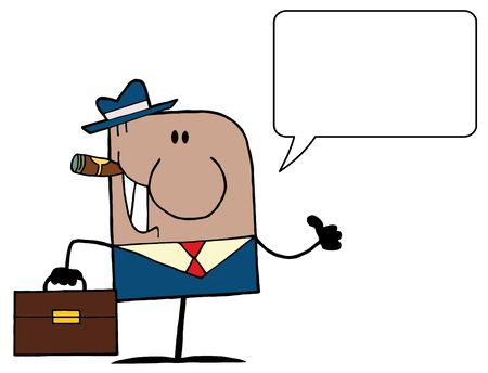 American Businessman Cartoon Doodle Businessman Holding A Thumb Up And Speech Bubble Vector