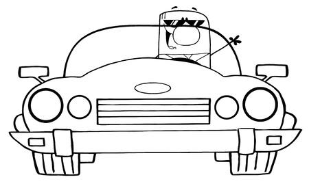 convertible car: Esbozado Cartoon Doodle empresario conducir autom�vil Convertible  Vectores