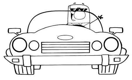 Outlined Cartoon Doodle Businessman Driving Convertible Car  Vector