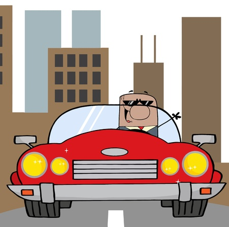 African American Businessman Driving Convertible Car In The City  Vector