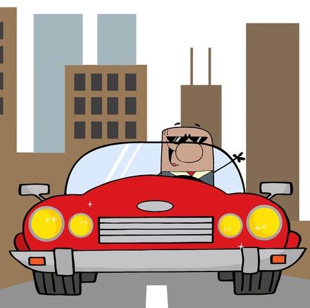 convertible car: Hombre de negocios estadounidense conduciendo coche Convertible en la ciudad