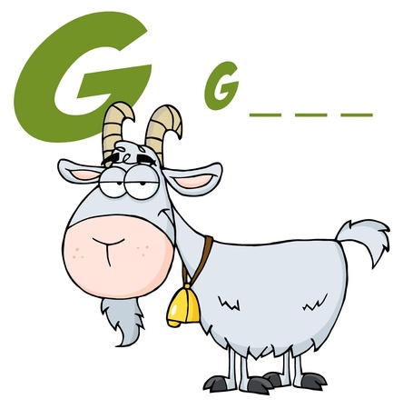 Goat Cartoon Character With Letter G  Stock Vector - 9681491