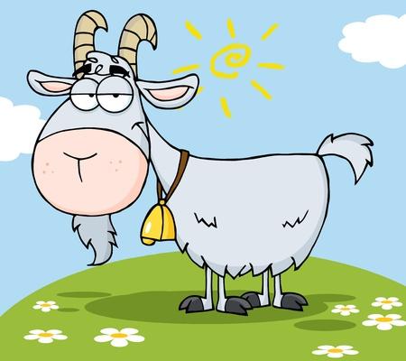 Goat Cartoon Character On A Hill 일러스트