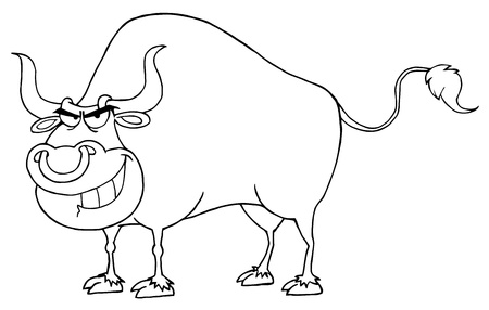Outlined Bull Cartoon Character  Illustration