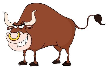 Angry Bull Mascot Cartoon Character  Çizim