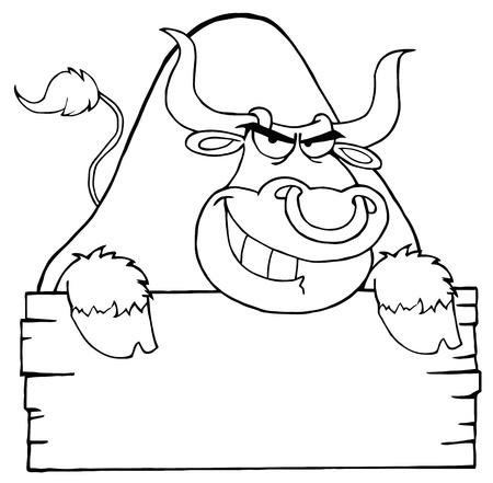 toro arrabbiato: Delineato Bull arrabbiato guardando oltre un cartello di legno bianco
